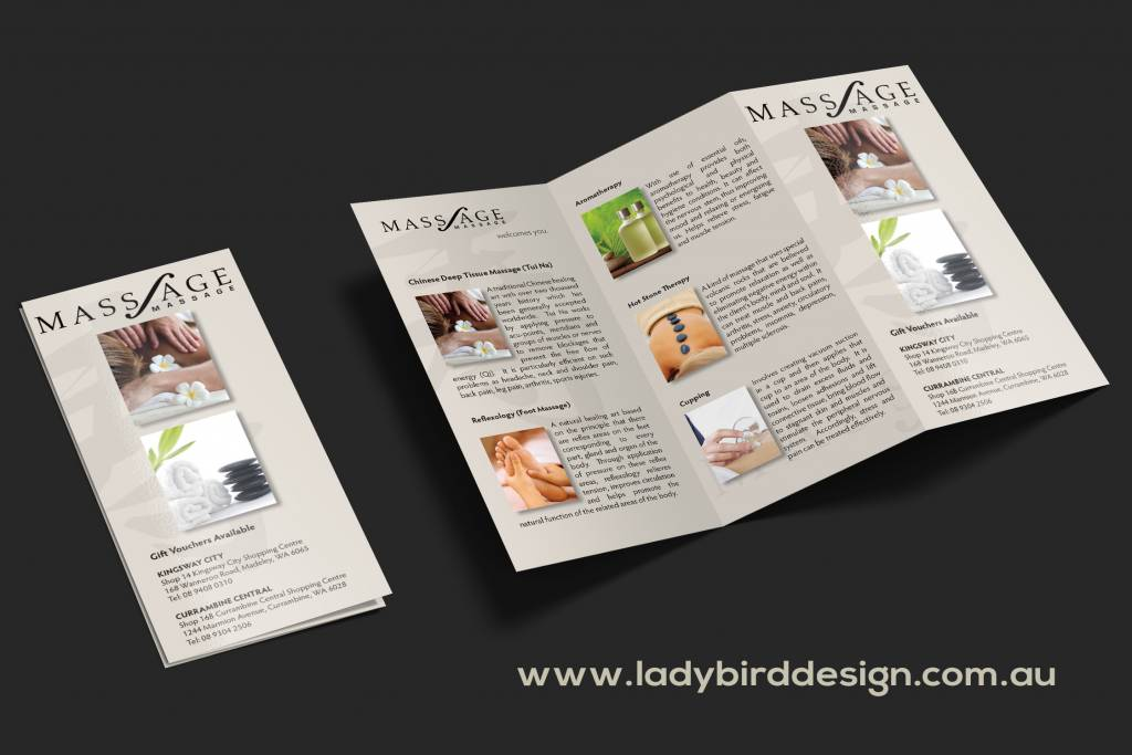 Massage Therapist medical brochure graphic design perth