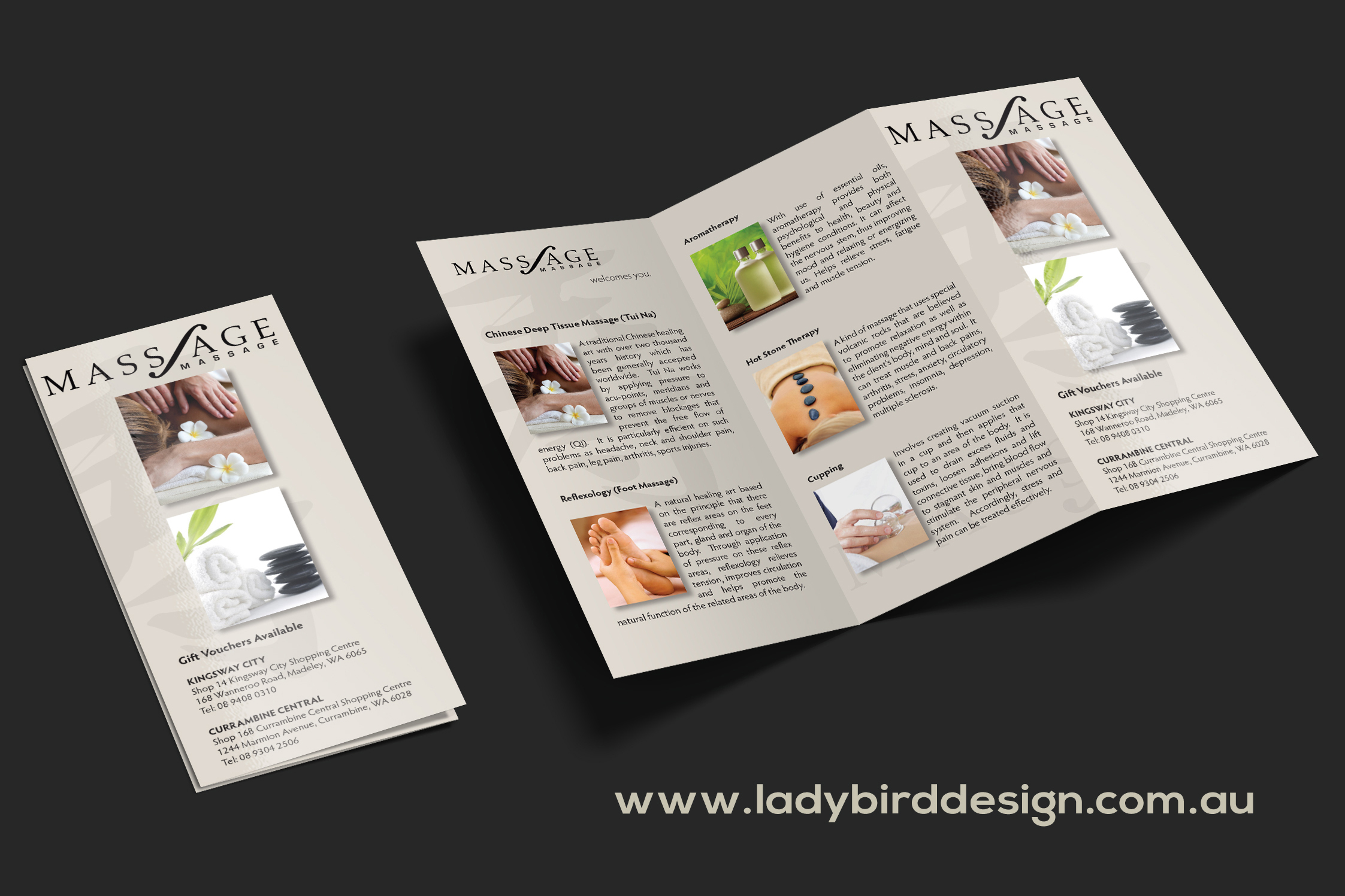 Massage Therapist medical brochure graphic design perth