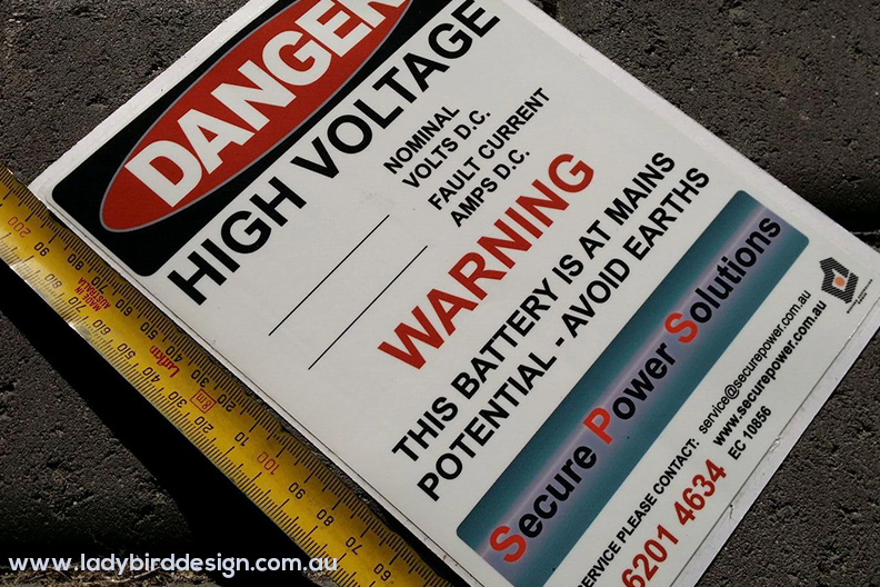 stickers labels safety warning electrician industrial perth