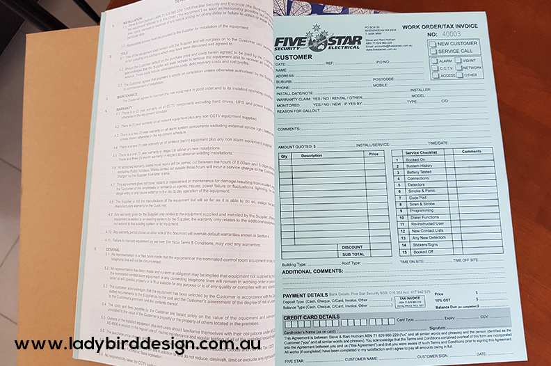carbonless book perth electrician