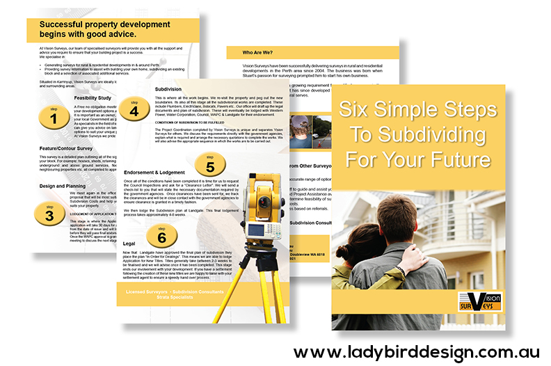 surveyor real estate development brochure perth graphic design