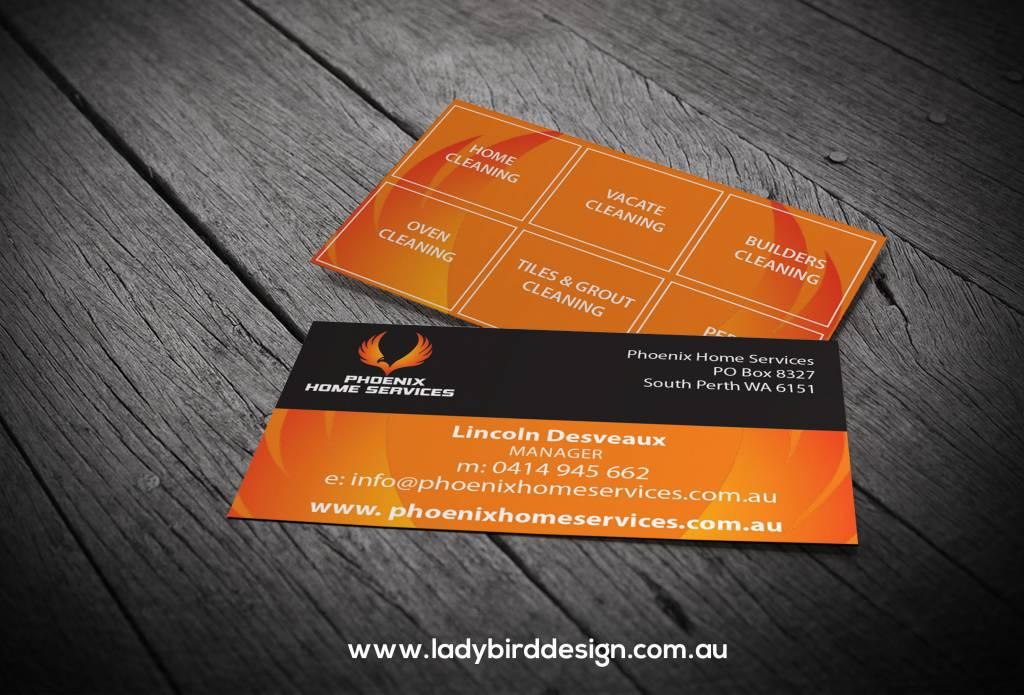 business card commercial home cleaning graphic design perth