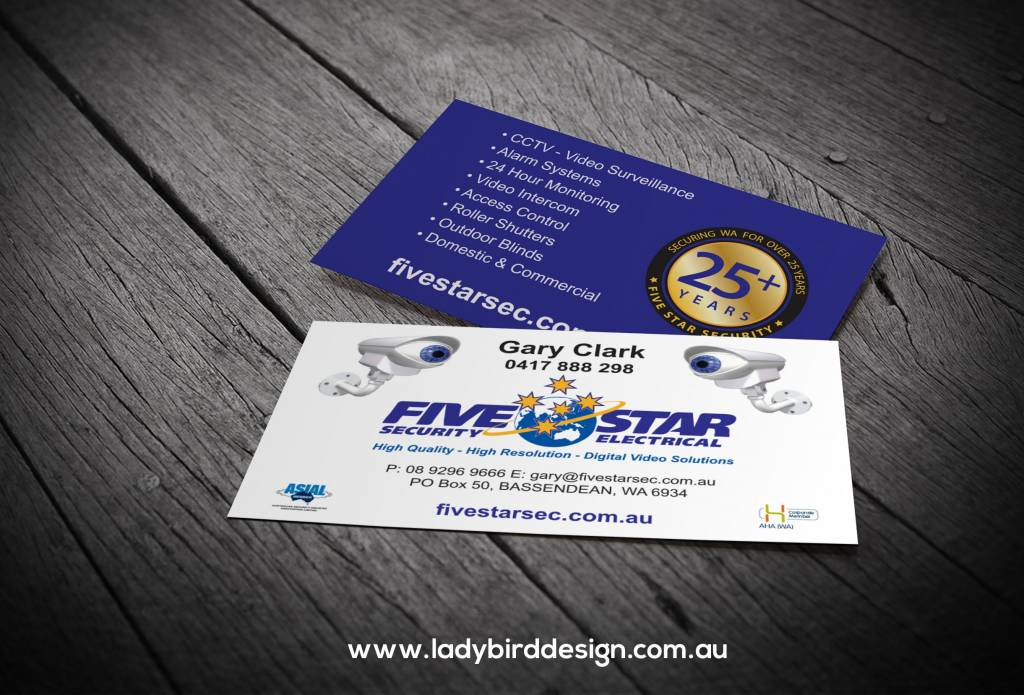 business card security electrician graphic design perth