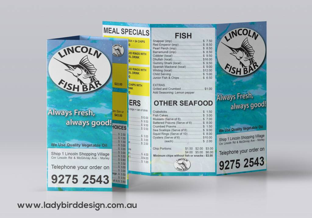 fish and chips fast food takeaway menu graphic design perth