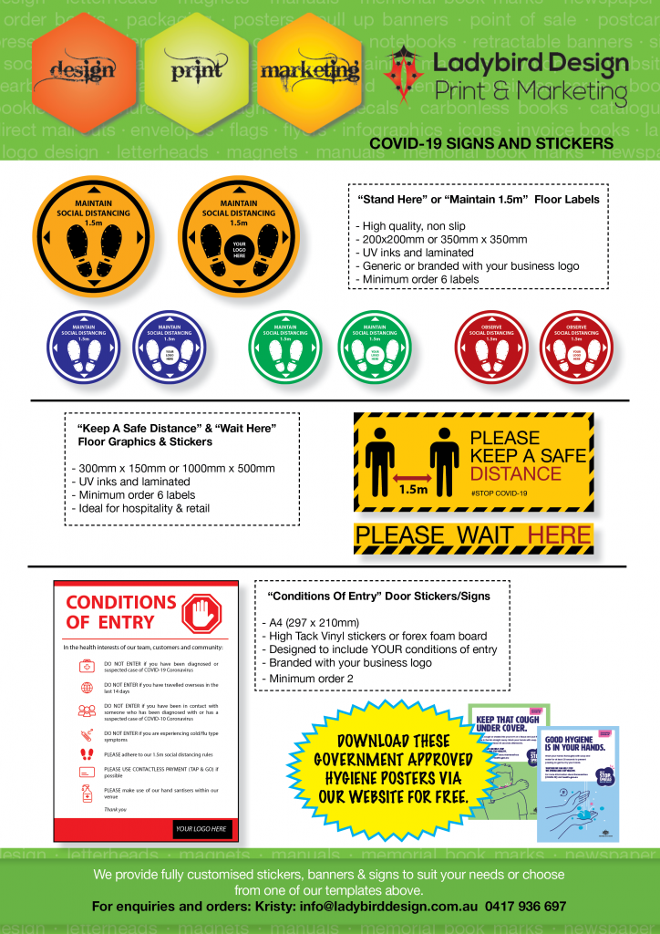 Covid-19 social distancing signs stickers health perth