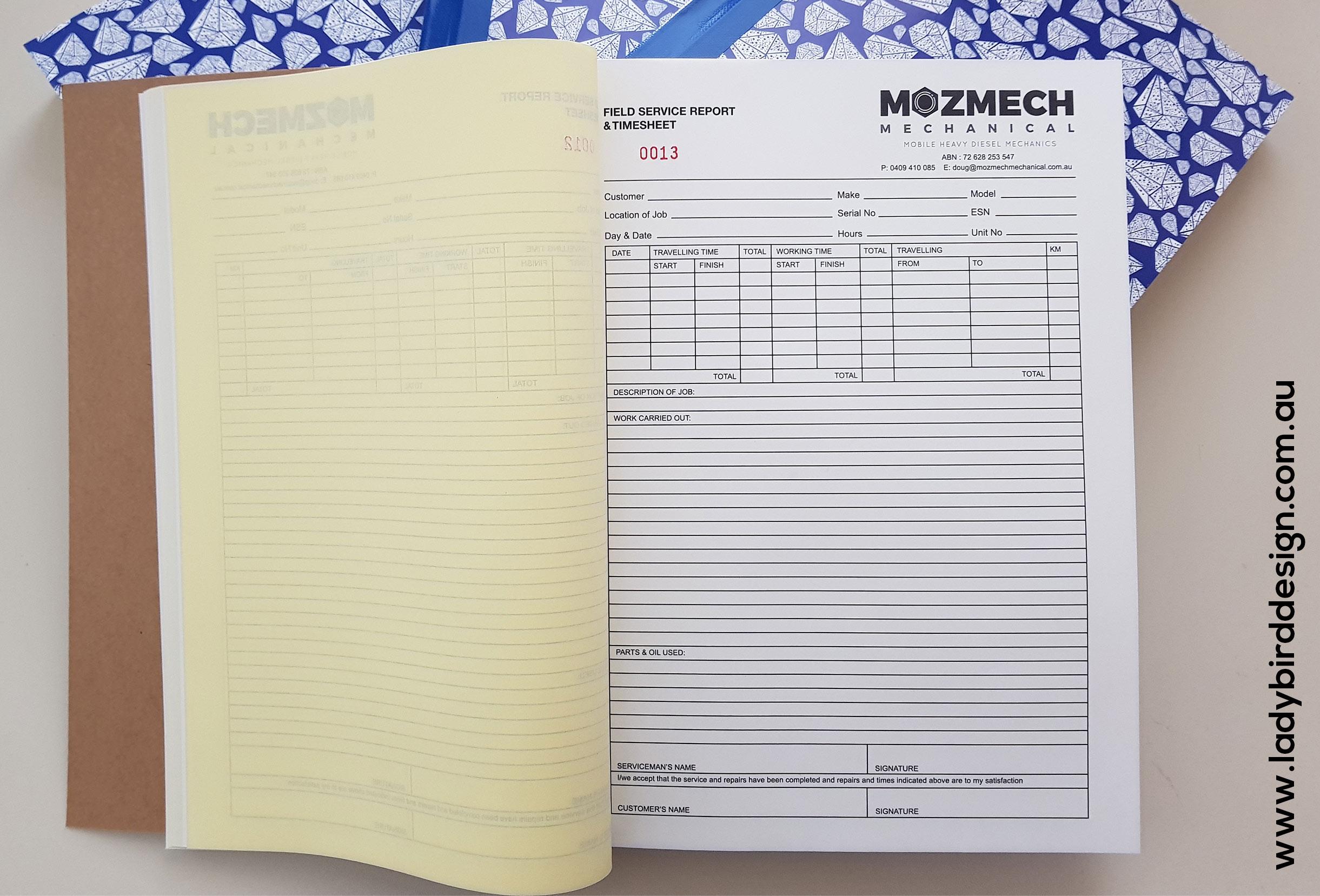 carbonless ncr custom invoice book perth joondalup