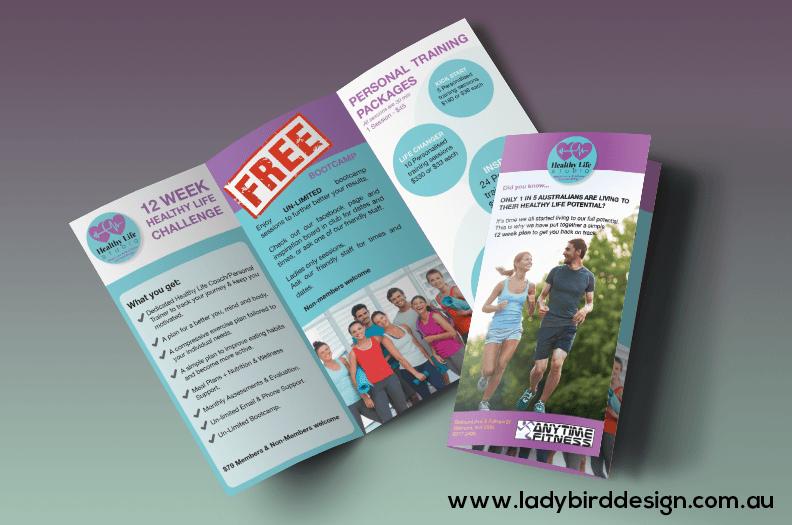 trifold brochure design print flyer fitness perth